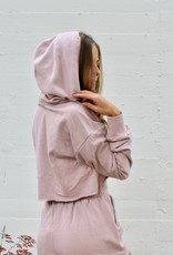 Cotton Candy Tortoise Shell Button Cropped Hoodie