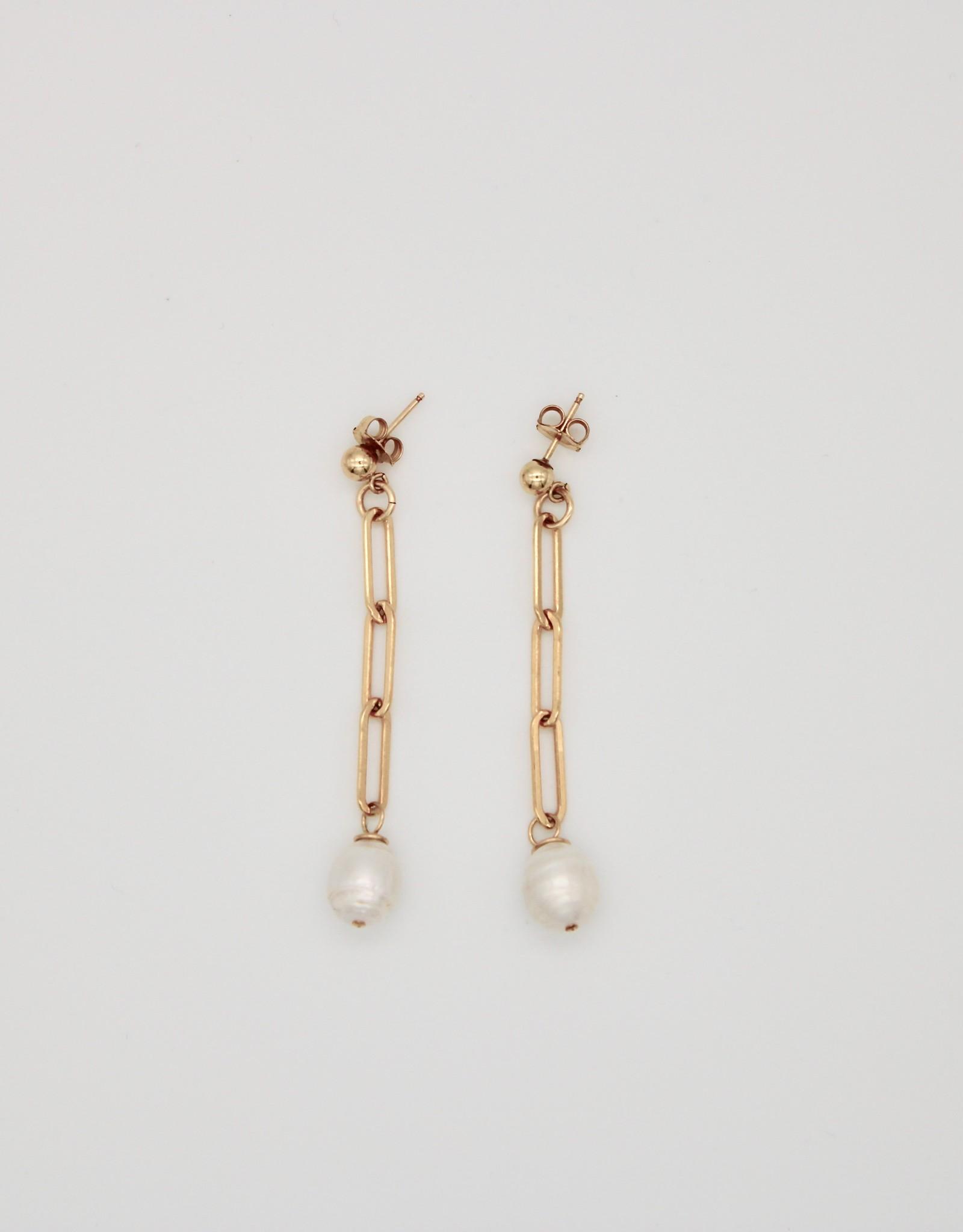 Karla Pattur KP34 Long Chain Earrings w/ Saltwater Pearl