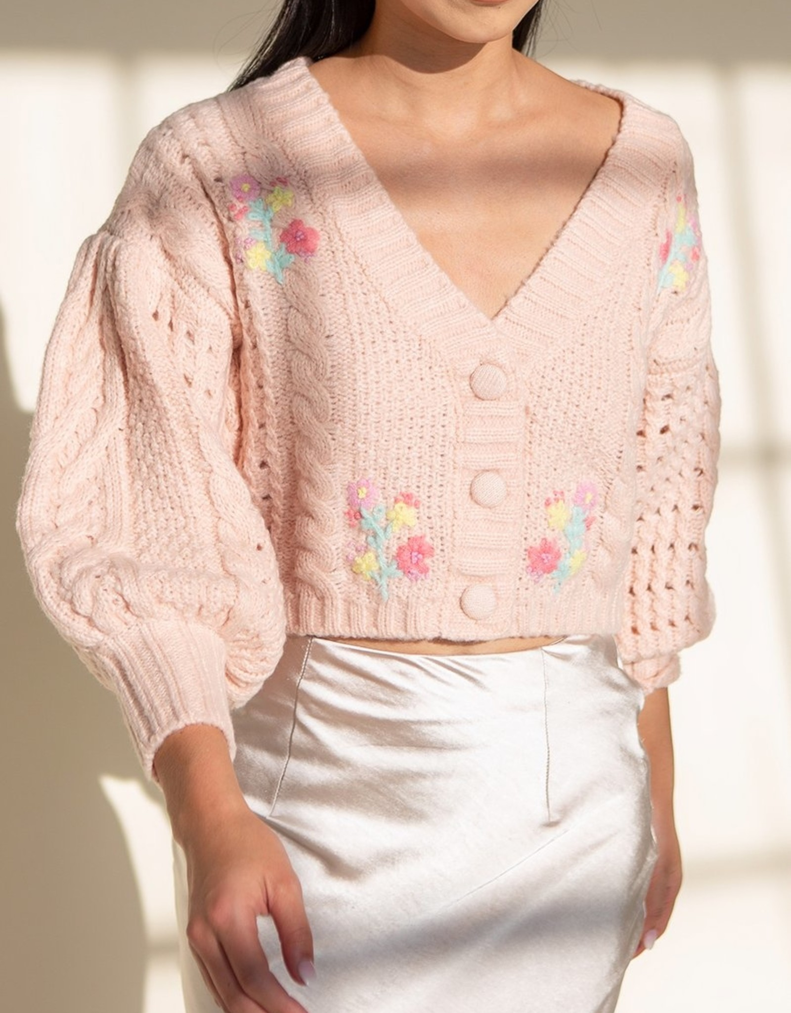 For Love and Lemon Amaryllis Cropped Cardigan