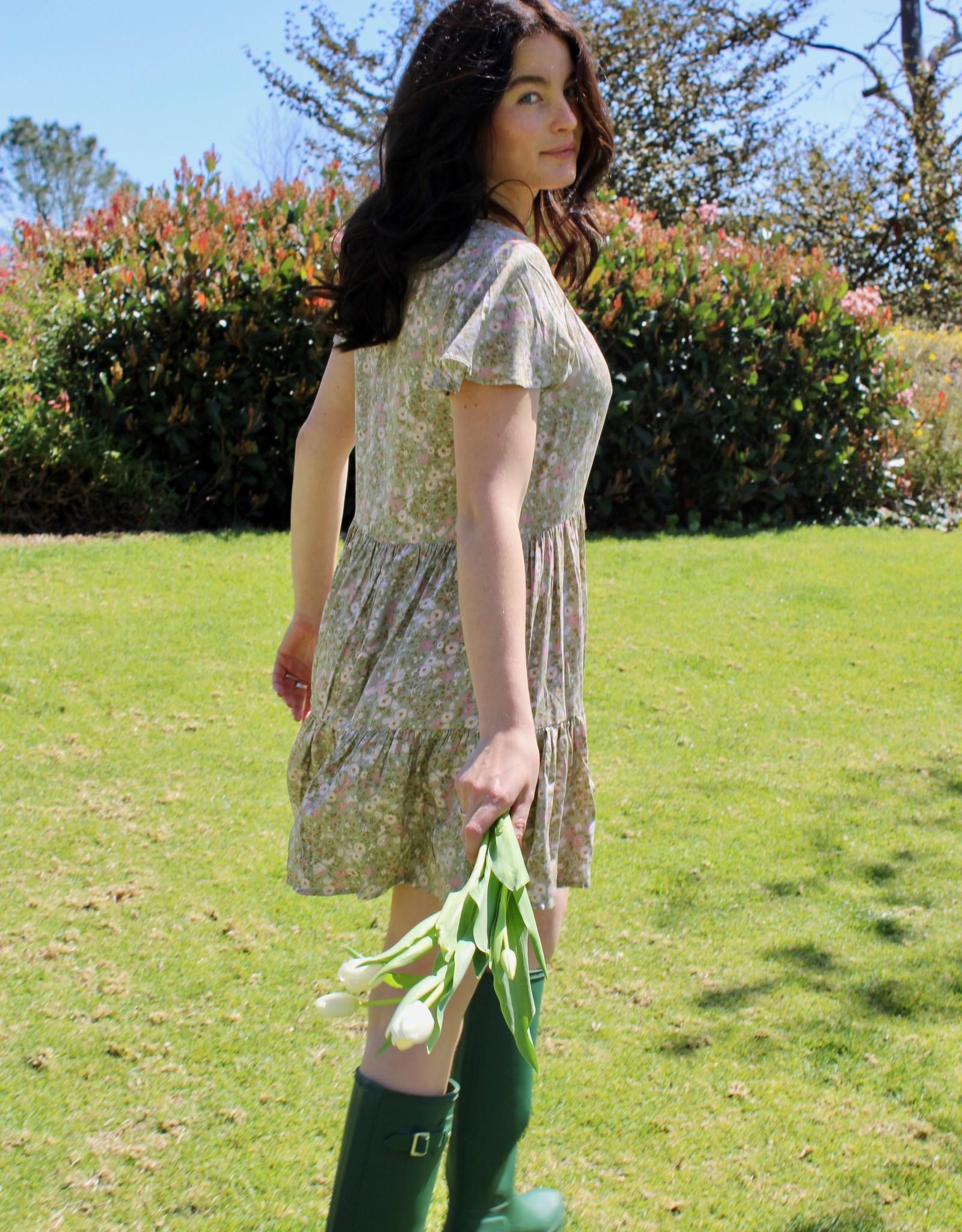Dress Forum FD6035 Ditsy Floral Tie-Front Swing Dress