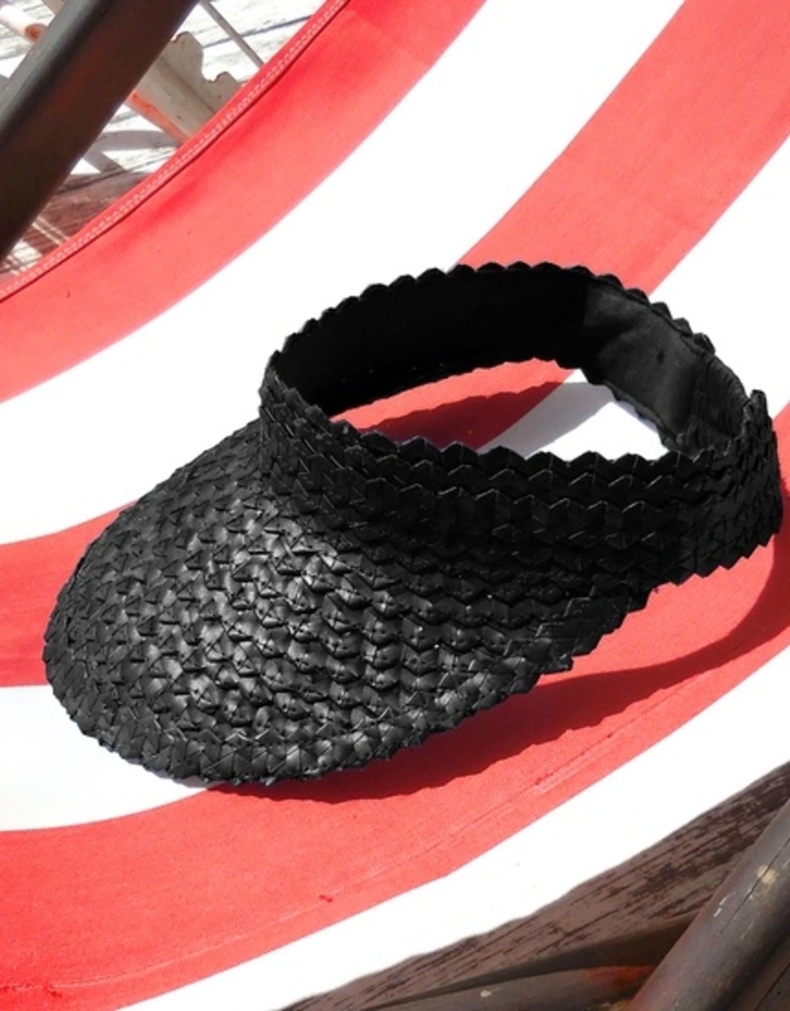 Brunna Co Vegan Pandan Visor Straw Hat | Black