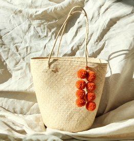 Brunna Co Borneo Serena Anjat Straw Bag with Orange Poms