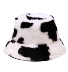Rainbow Unicorn Birthday Surprise Bucket Hat - Cow Plush Print Black