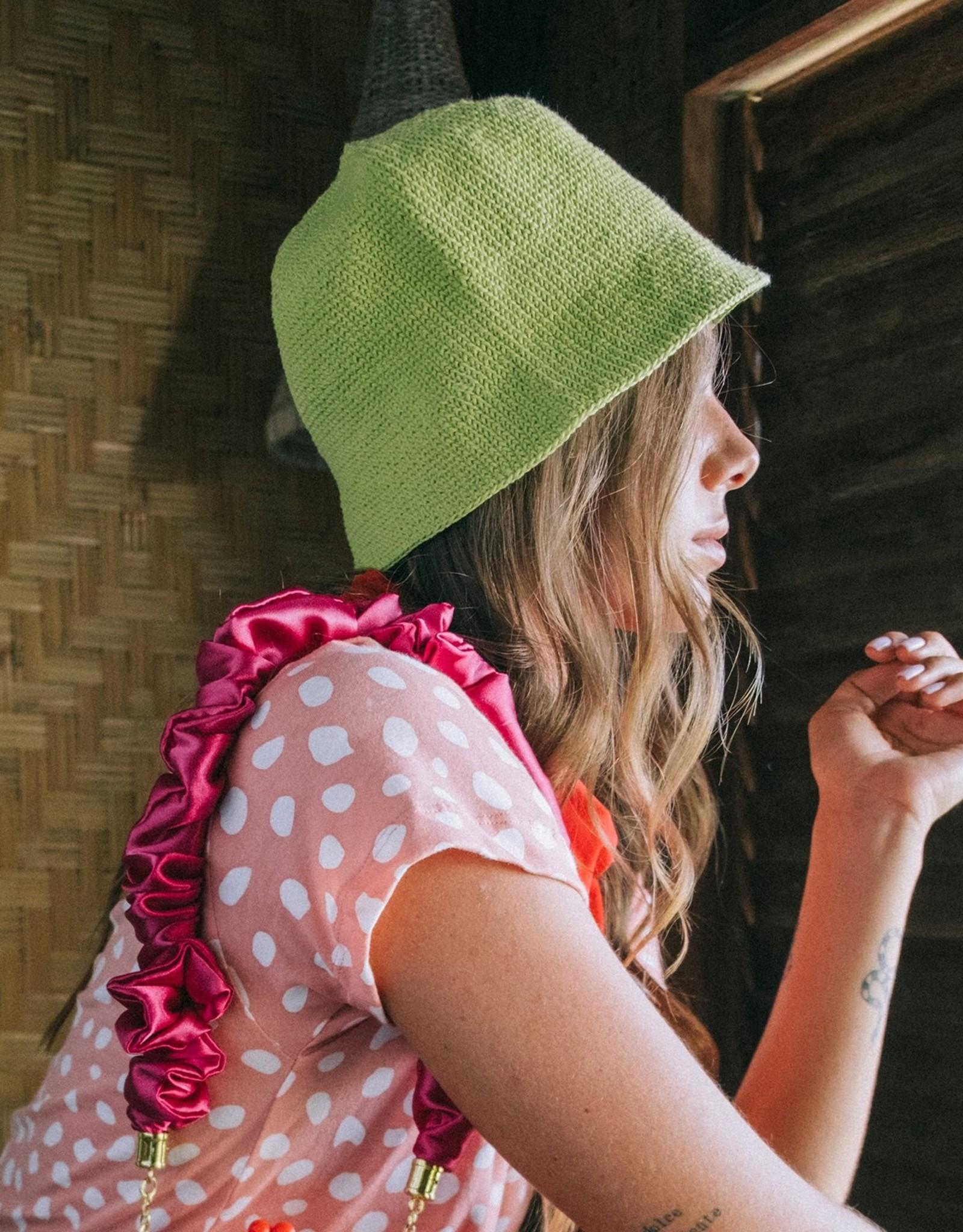 Brunna Co FLORETTE Crochet Bucket Hat Lime Green