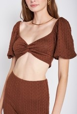 Emory Park IMA6795T Bubble Sleeve Cable Knit Crop