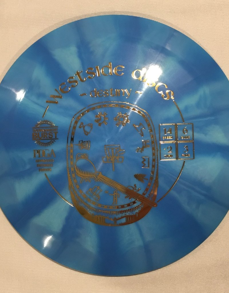 Westside Discs Westside Destiny Tournament Burst  blue 173g 14/6/-2/3
