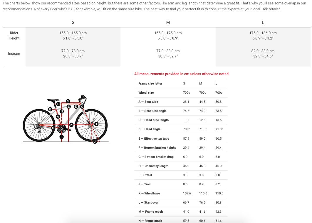 Dual sport women's sizing chart