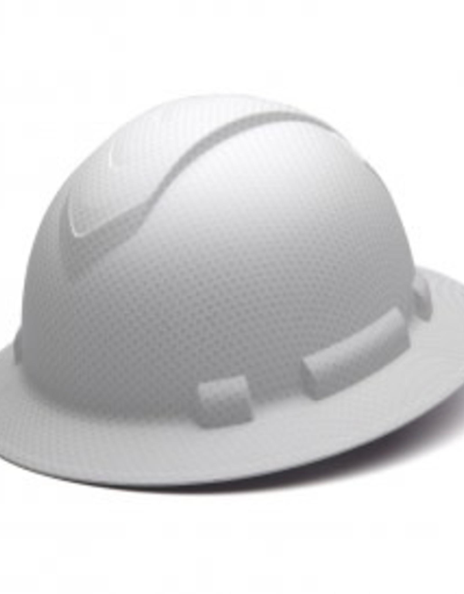 Pyramex Ridgeline Full Brim Hard Hat - 4 Point Ratchet Matte White Graphite Pattern