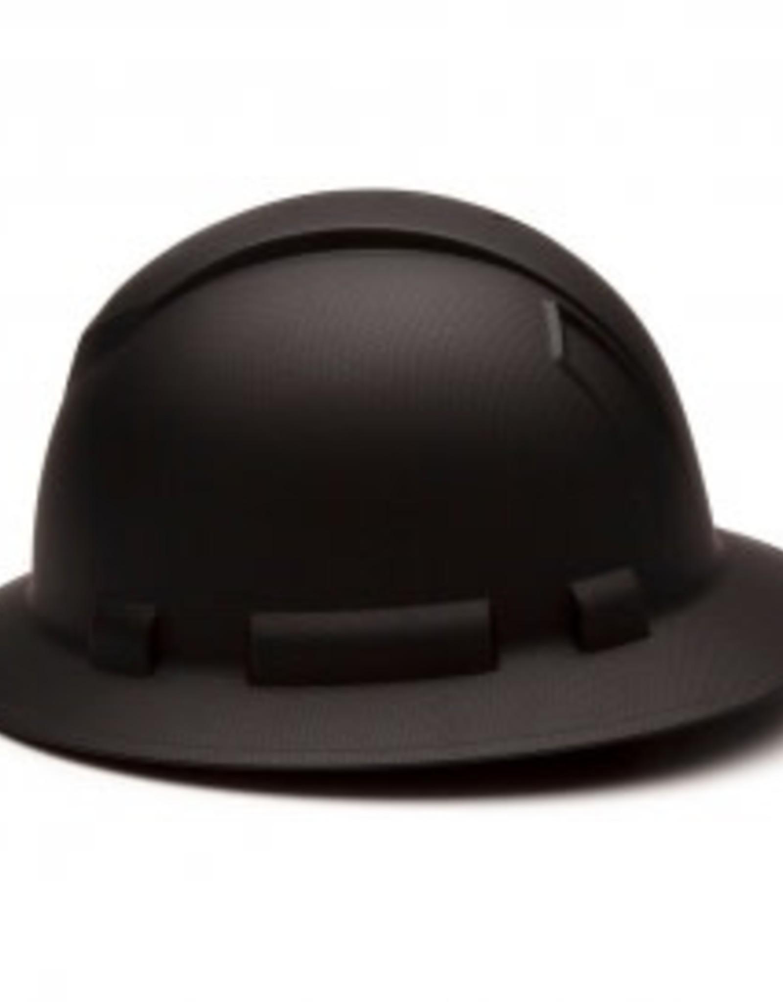 Pyramex Ridgeline Full Brim Hard Hat - 4 Point Ratchet Matte Black Graphite Pattern