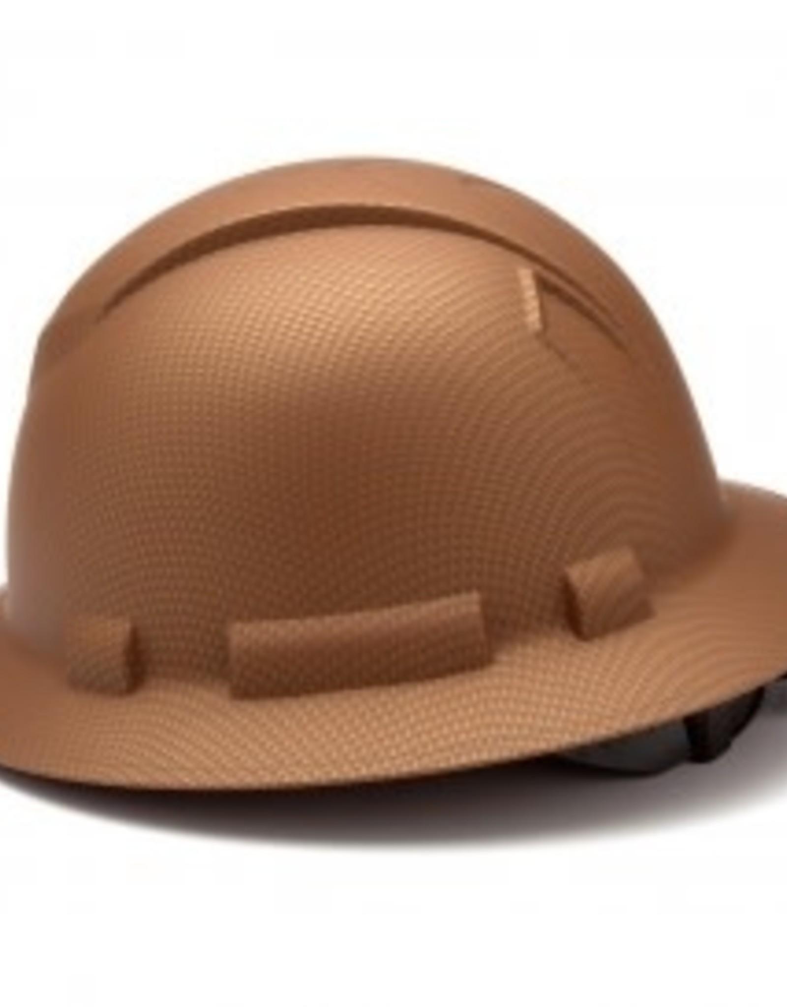 Pyramex Ridgeline Full Brim Hard Hat - 4 Point Ratchet Matte Copper Graphite Pattern