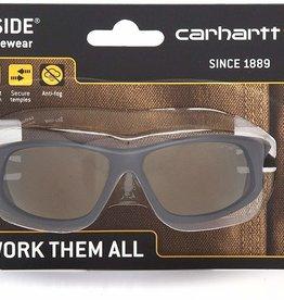 Carhartt Carhartt Ironside Safety Glasses, Retail Clamshell Packaging Black/Tan Frame, Antique Mirror Anti-Fog Lens