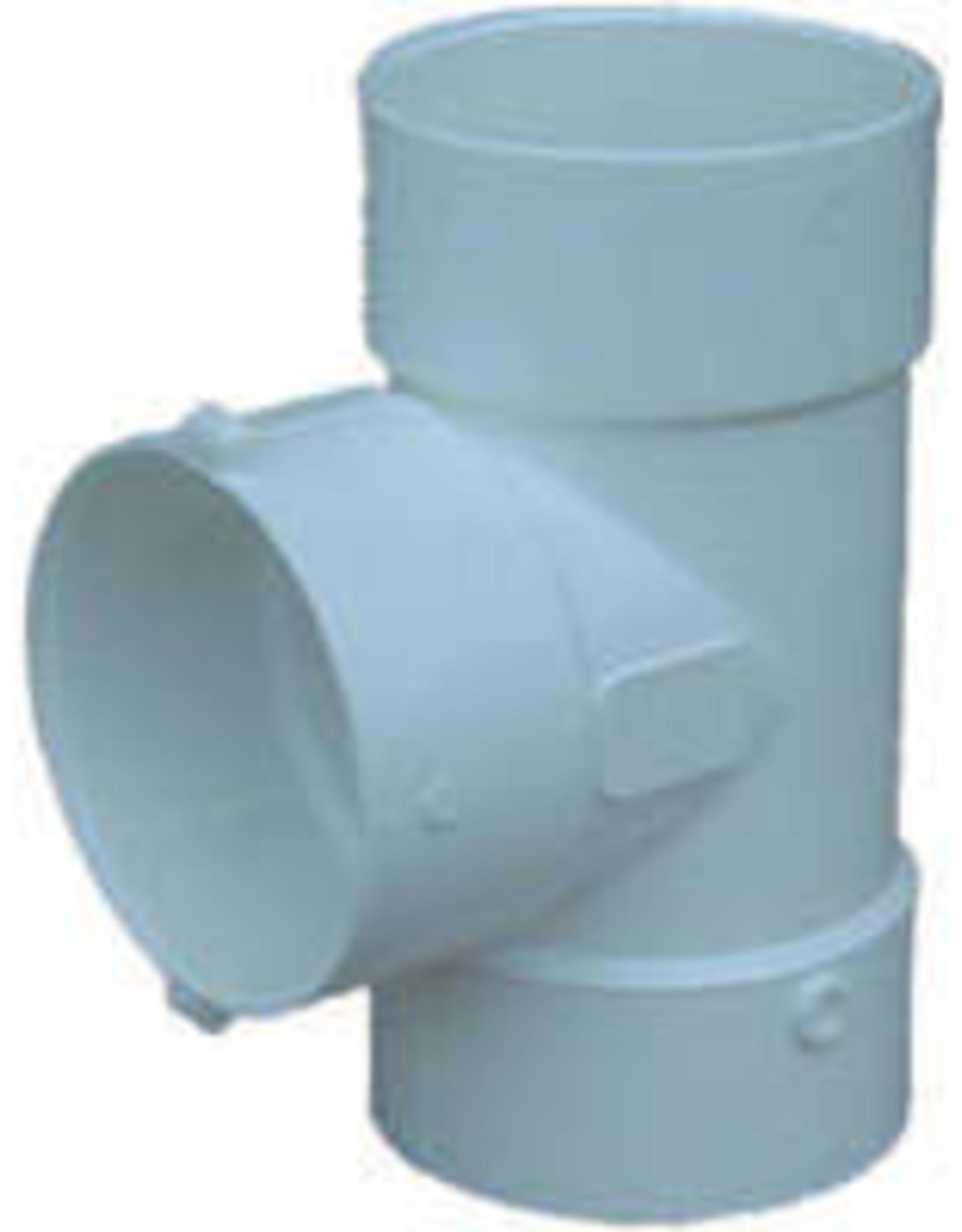 "NDS Drainage PVC 4"" Sewer & Drain Tee Hub x Hub x Hub, NDS 4P01"