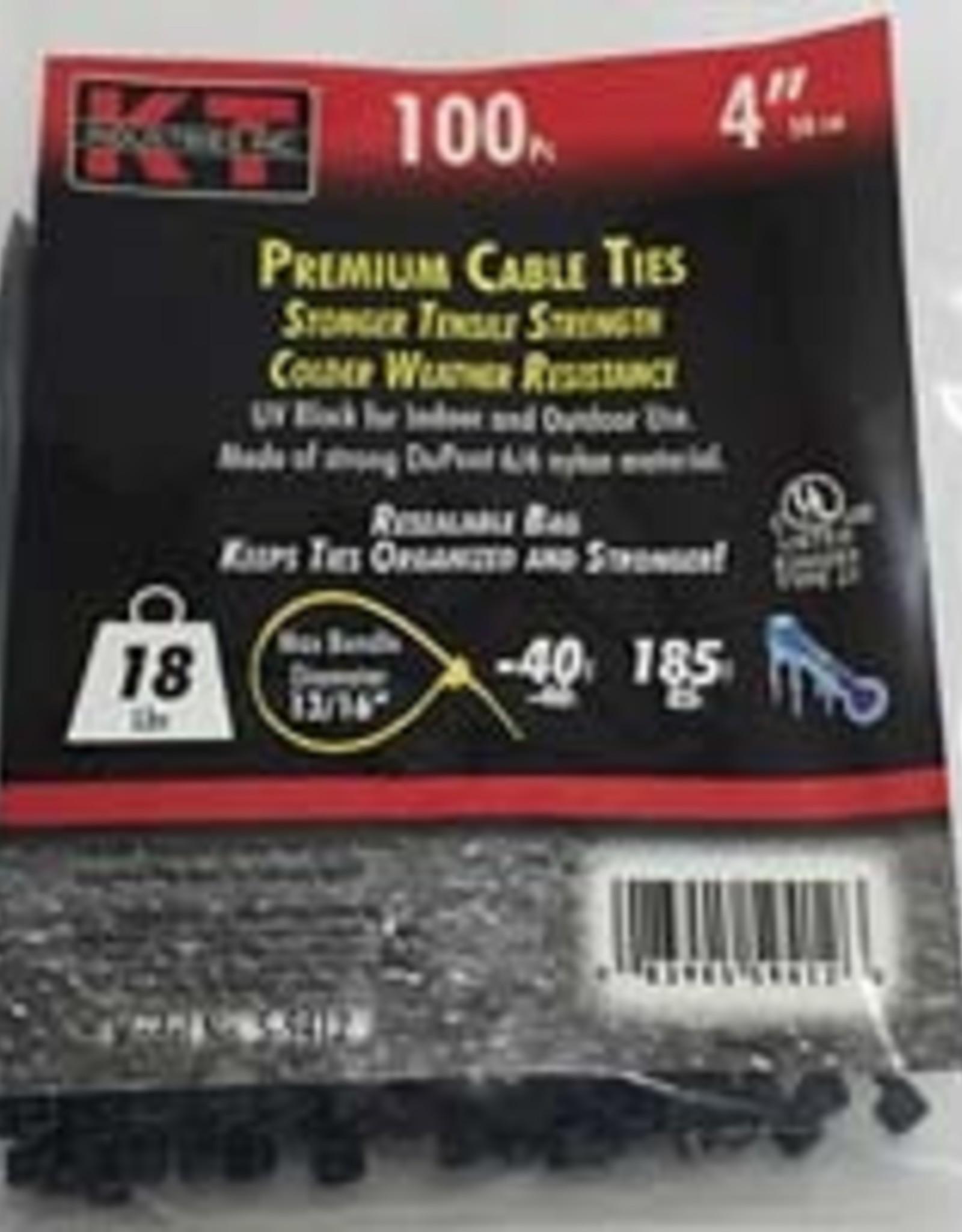"Kt Industries 5-9412 4"" Ultra Light Duty UV Black Zip Ties"