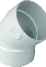 "NDS Drainage PVC 4"" Sewer & Drain 45 Degree Elbow Hub x Hub 1/8 Bend, NDS 4P03"