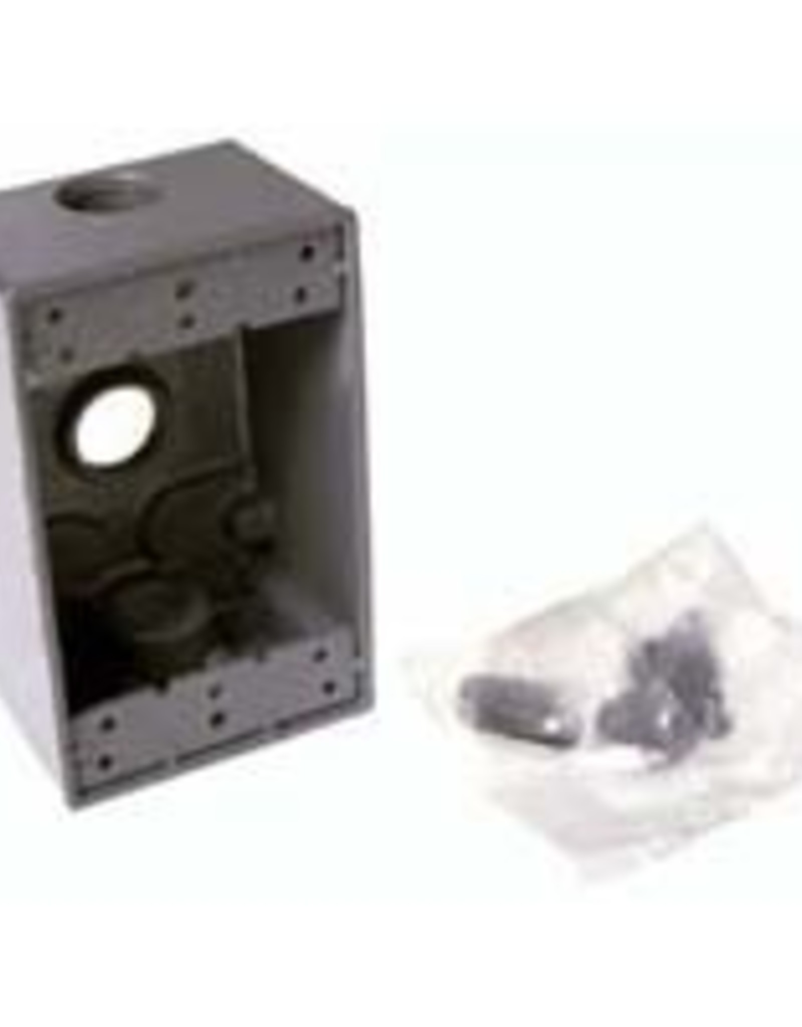 "Hubbell Electrical Prod. Bell Outdoor 2"" Deep Electrical Box 3- (3/4"") Outlets"