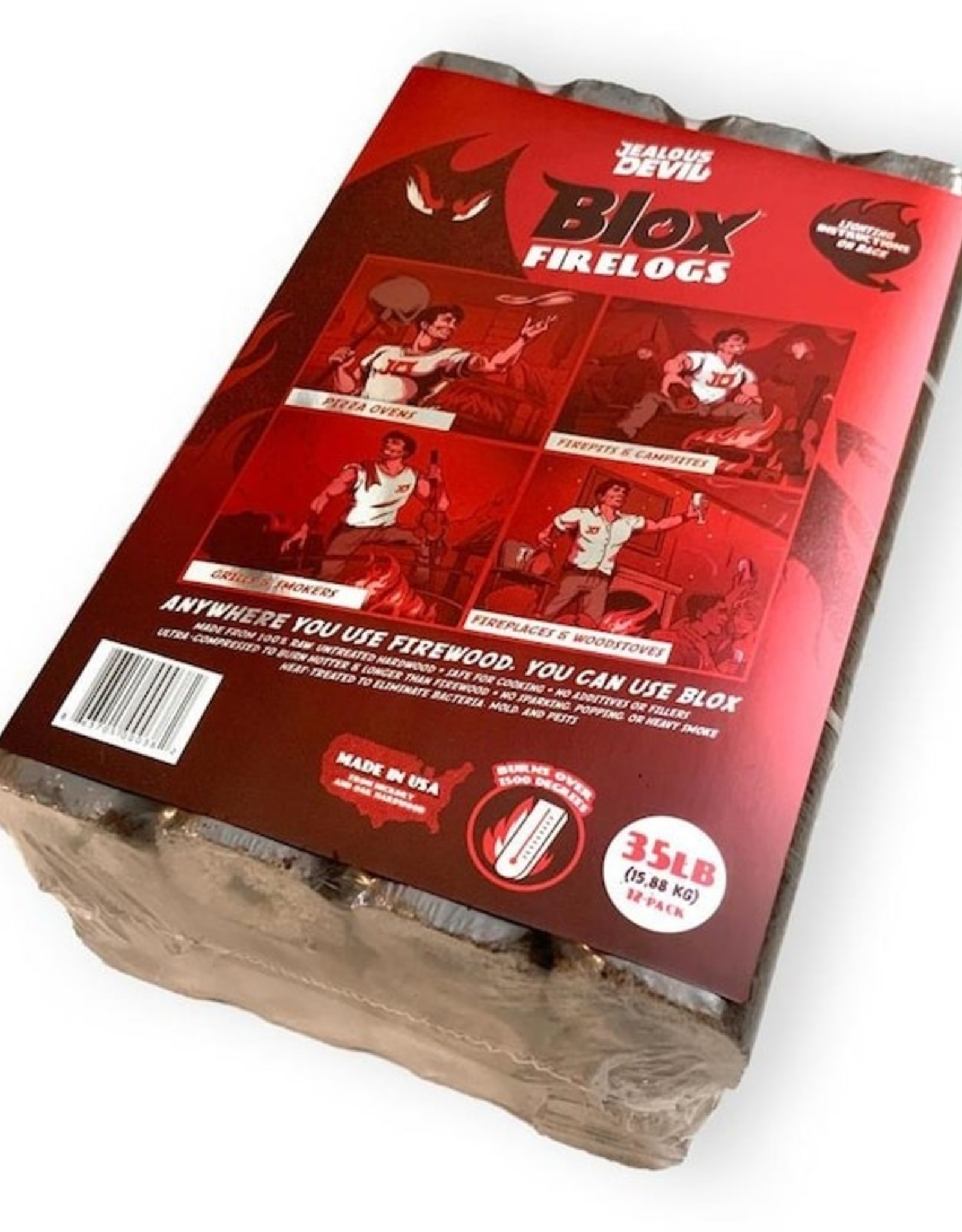 Jealous Devil Jealous Devil Jealous Devil Blox Hickory Compressed Natural Hard wood Fire Wood Pack, 12 Logs