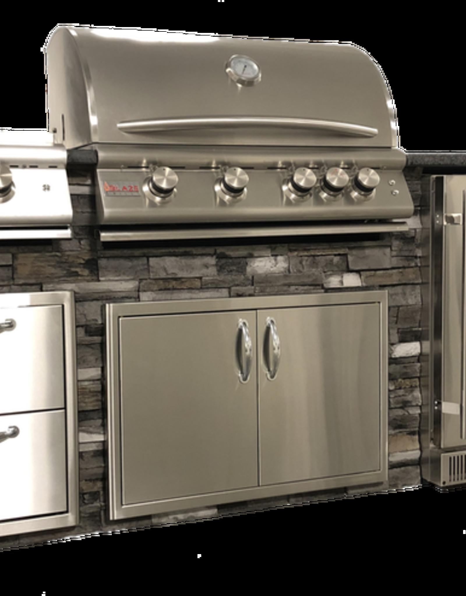 Tru Innovative Outdoor Blaze Island - Brown Stacked Stone Steel Grey Polished Granite SSB-SGP