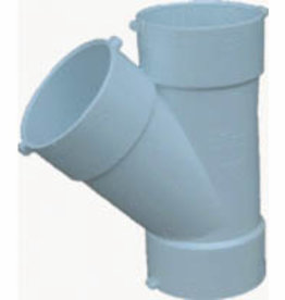 "NDS Drainage PVC 4"" Sewer & Drain 45 Degree Wye Hub x Hub x Hub, NDS 4P08"