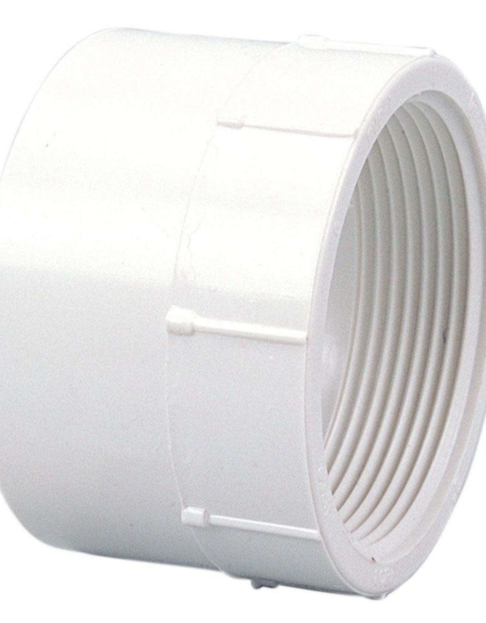 "NDS Drainage PVC 4"" Female Adapter Hub x FIP Thread"