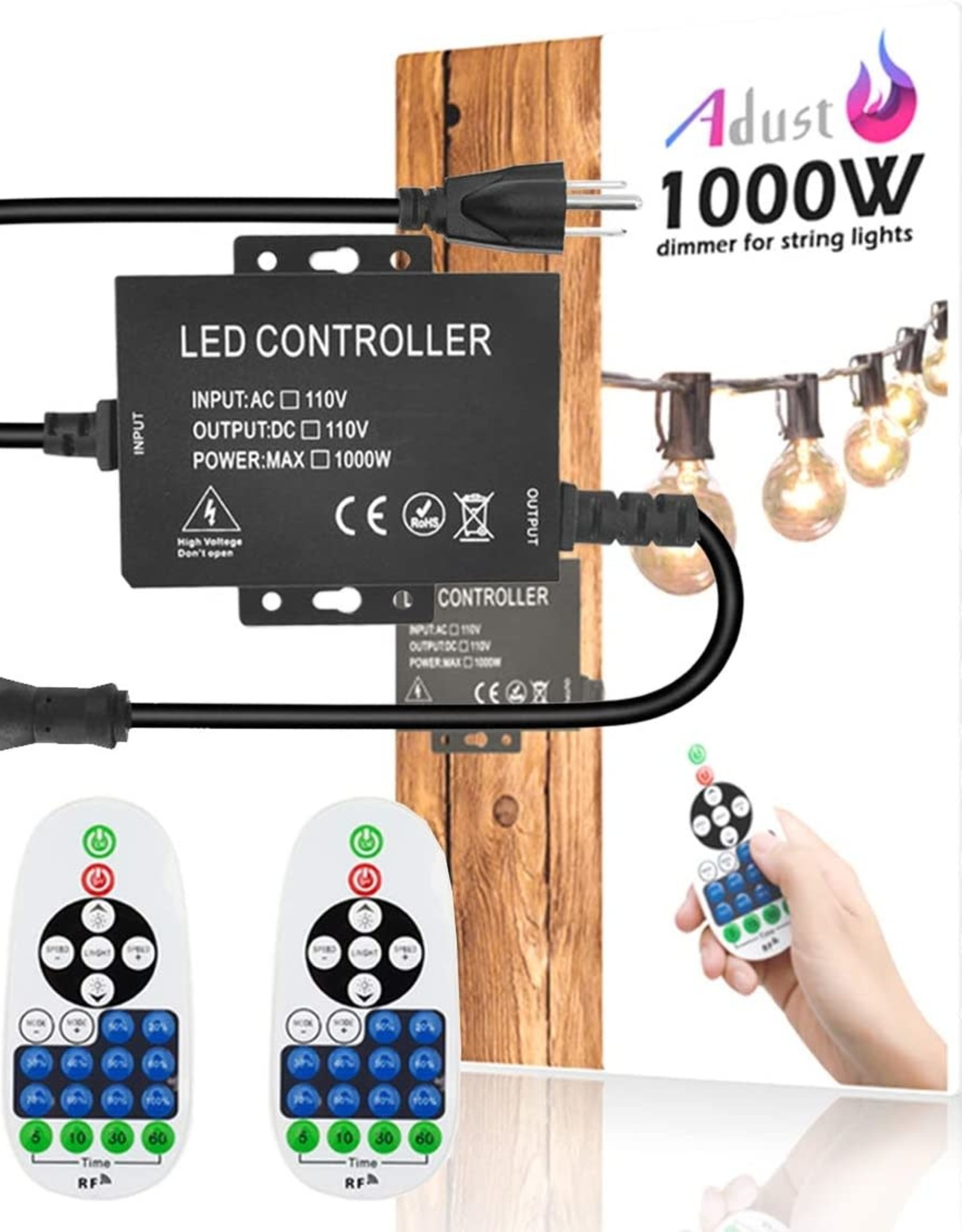 Adust Light String Remote Plug-in Dimmer - 100W 110V AC 110V 1000W Outdoor String Lights Bulbs Switch, Wireless Remote Control Dimmer, 3 Prong Outlet, Timer Switch, Waterproof IP 65