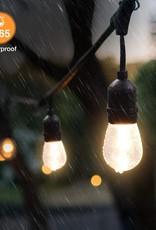Mpow LED String Light 2 - Pack 49 ft. 15 x E26 Hanging Sockets, Waterproof Dimmable 0.9W Vintage Bulbs (2 Spare) Connectable Edison Outdoor String Lights Create Cafe Ambience for Patio Backyard