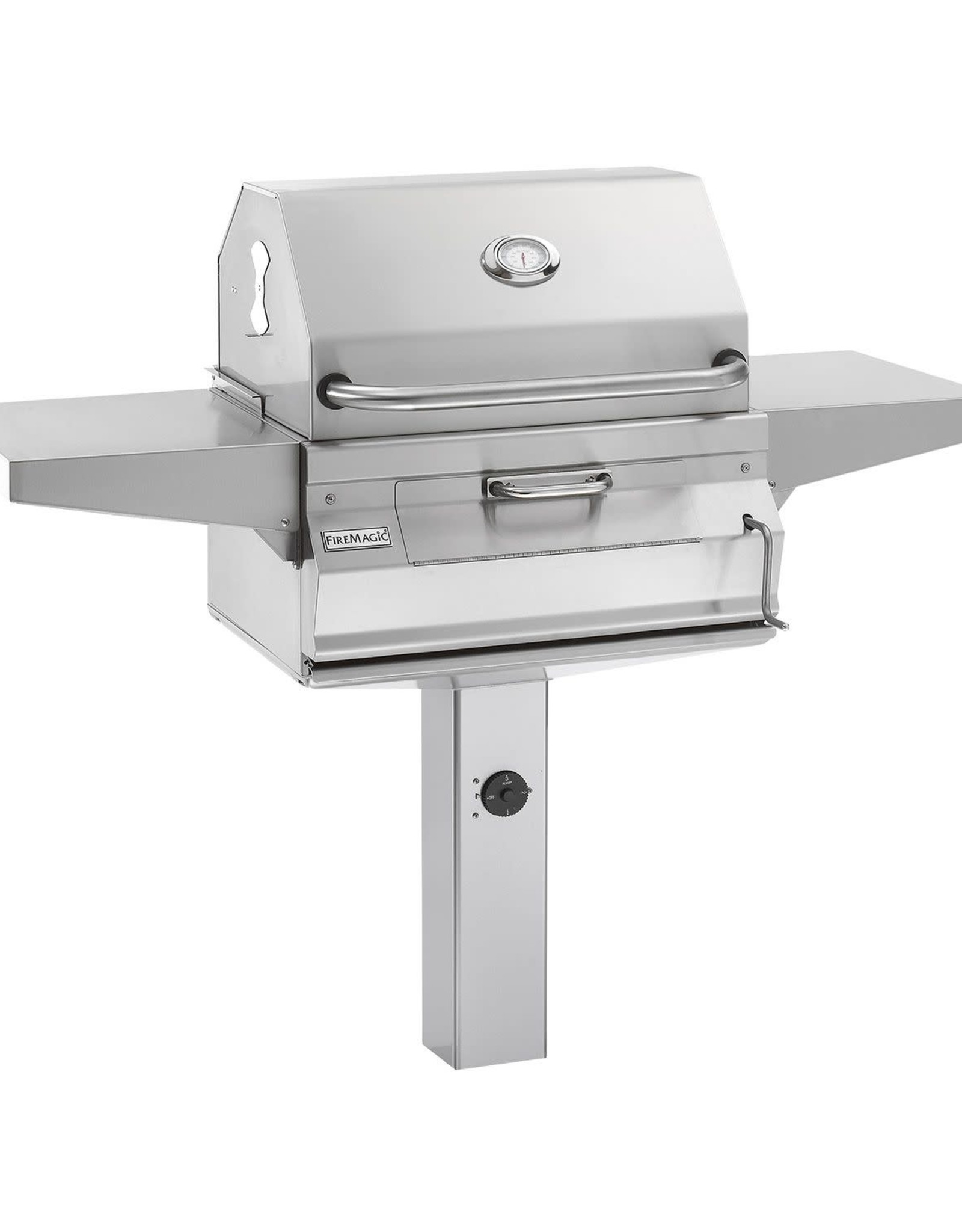 Fire Magic Fire Magic - Legacy Charcoal In Ground Post Mount Grill with Smoker Hood (24 x 18)