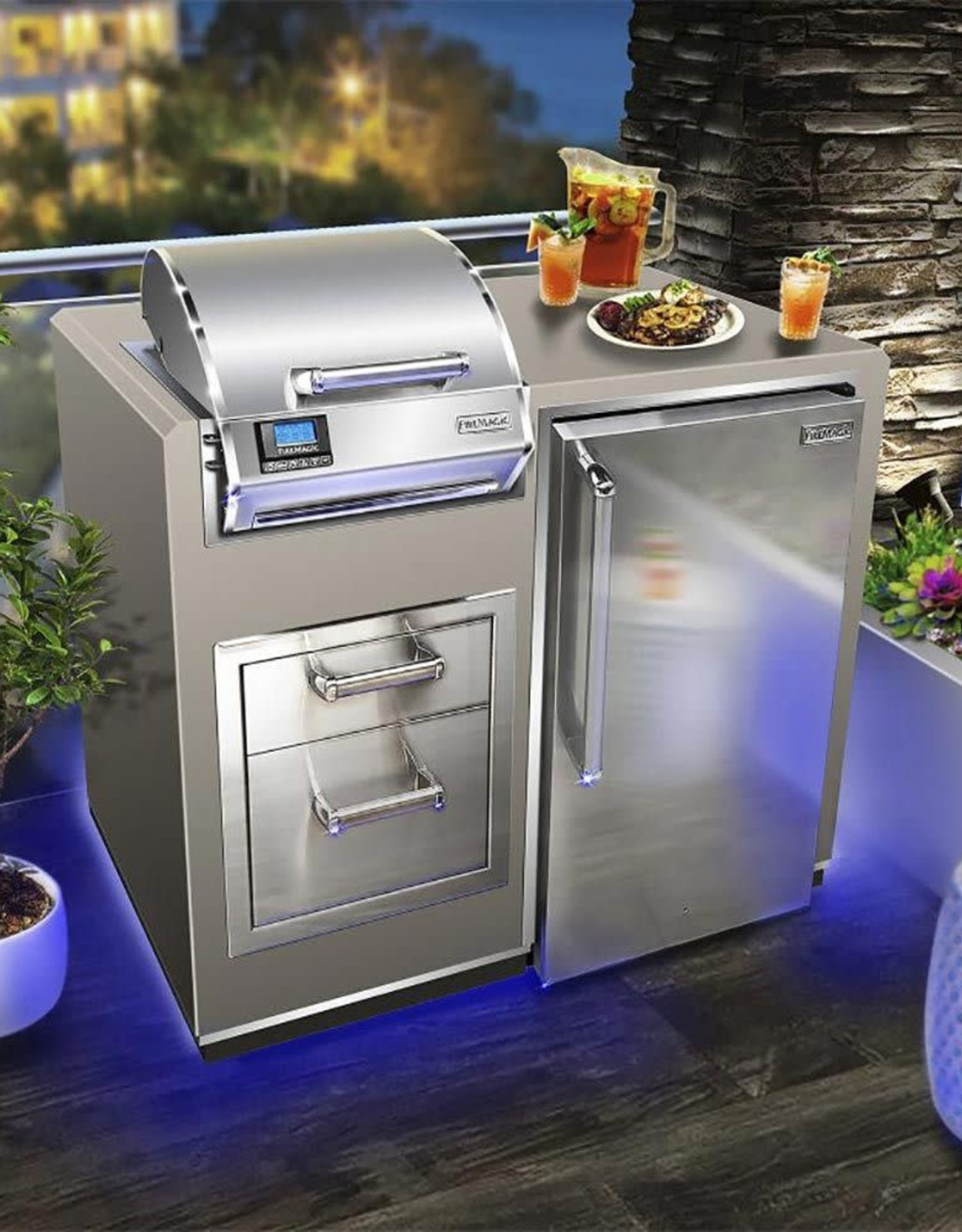 """Fire Magic Fire Magic -  Electric Grill Island Bundle with Refrigerator & Double Drawers (36"""" x 44"""") - ID251-R-44SM"""