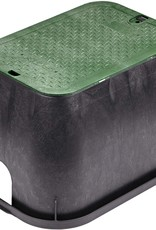 """Nds 14"""" x 19"""" Standard Series Sprinkler Valve Box- Black with Green Bolt-Down Cover 113BC"""