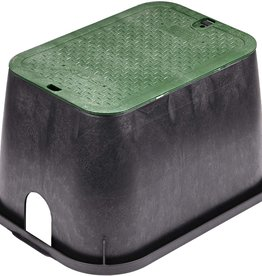 "Nds 14"" x 19"" Standard Series Sprinkler Valve Box- Black with Green Bolt-Down Cover 113BC"