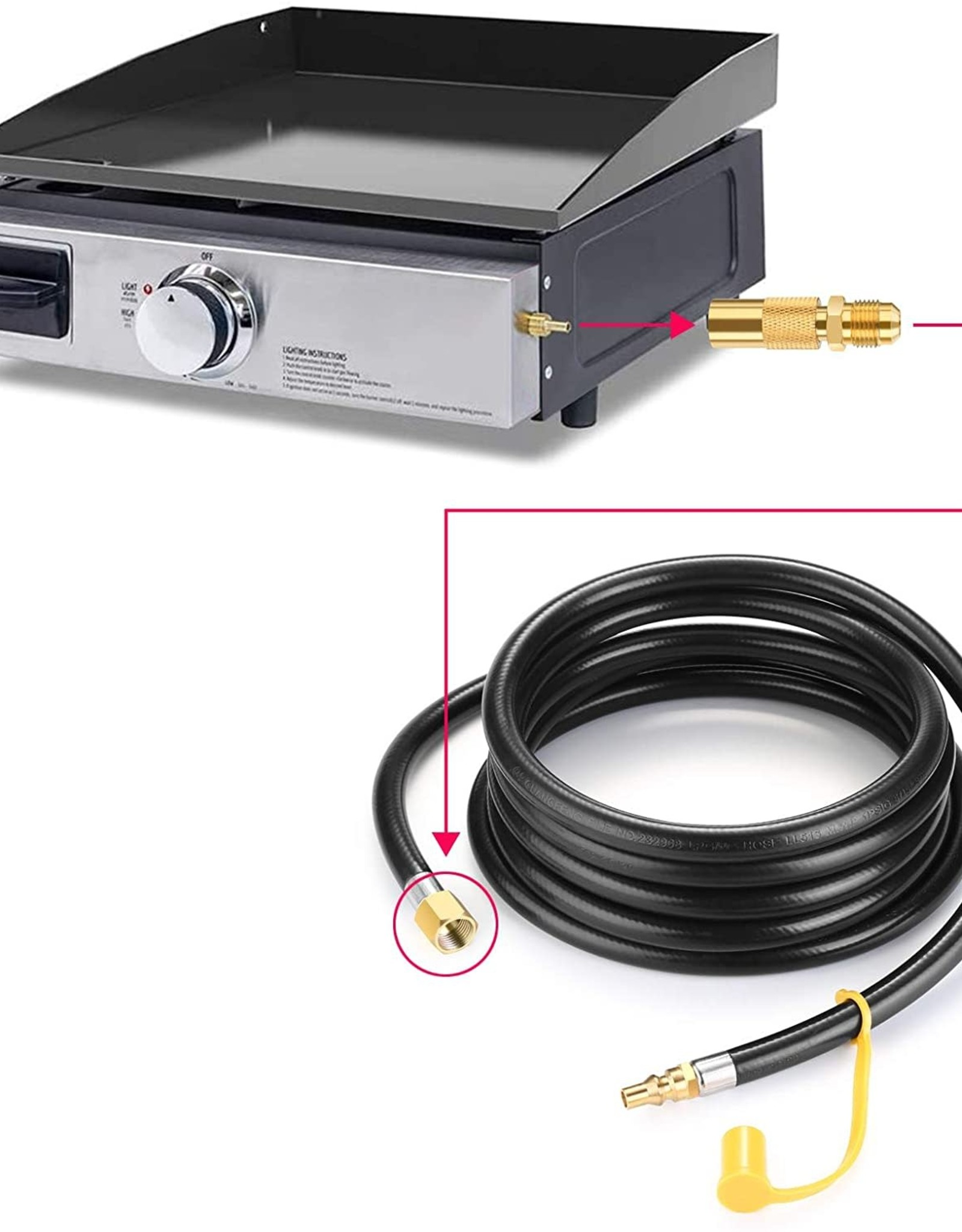 WADEO WADEO 12 ft. RV Quick Connect Adapter Hose for Blackstone Tabletop Griddles
