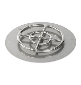 "American Fireglass 30"" Round Stainless Steel Flat Pan w 18"" Fire Ring - SSRFP30ASBL"