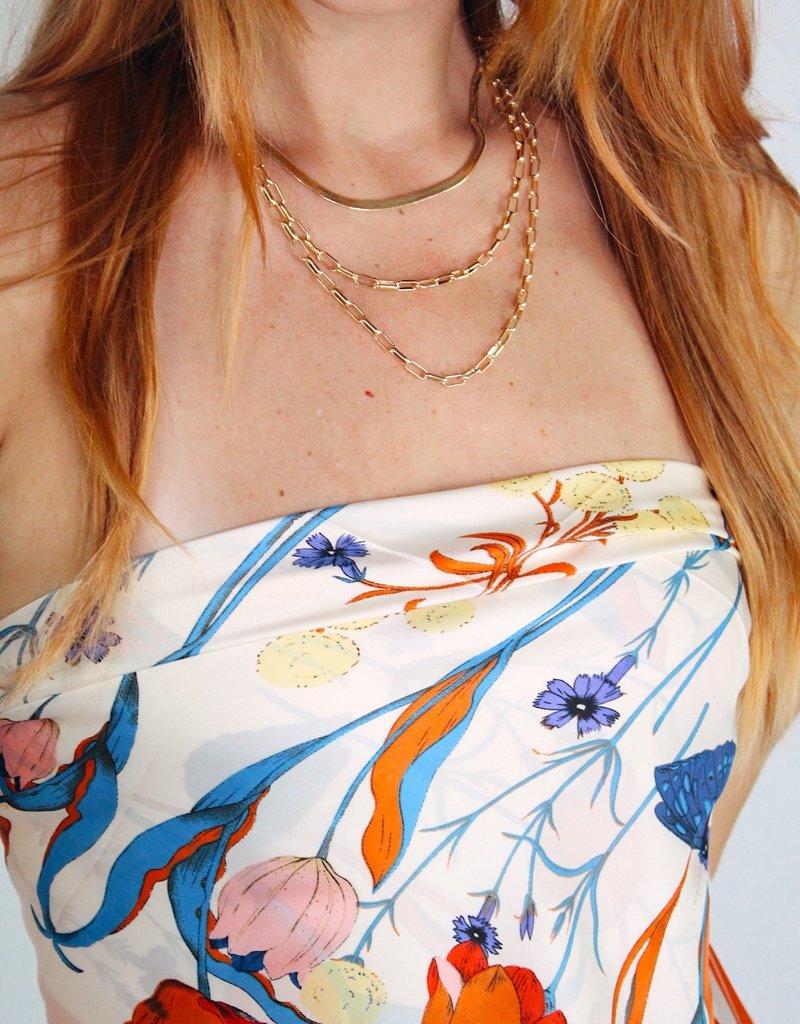 U.S. Jewelry House (New York Style) Herringbone and Linked Chain Necklace