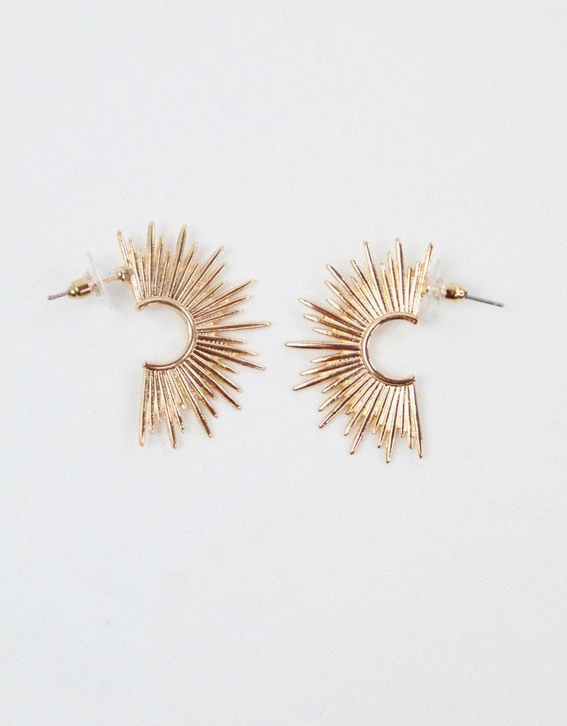 U.S. Jewelry House (New York Style) Sun Hoop Earrings Silver