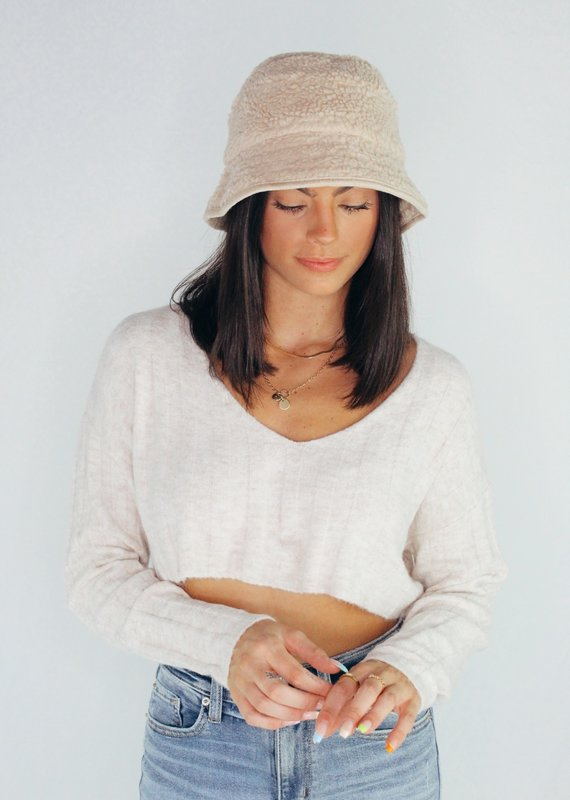 Look by M Shearling Basic Bucket Hat