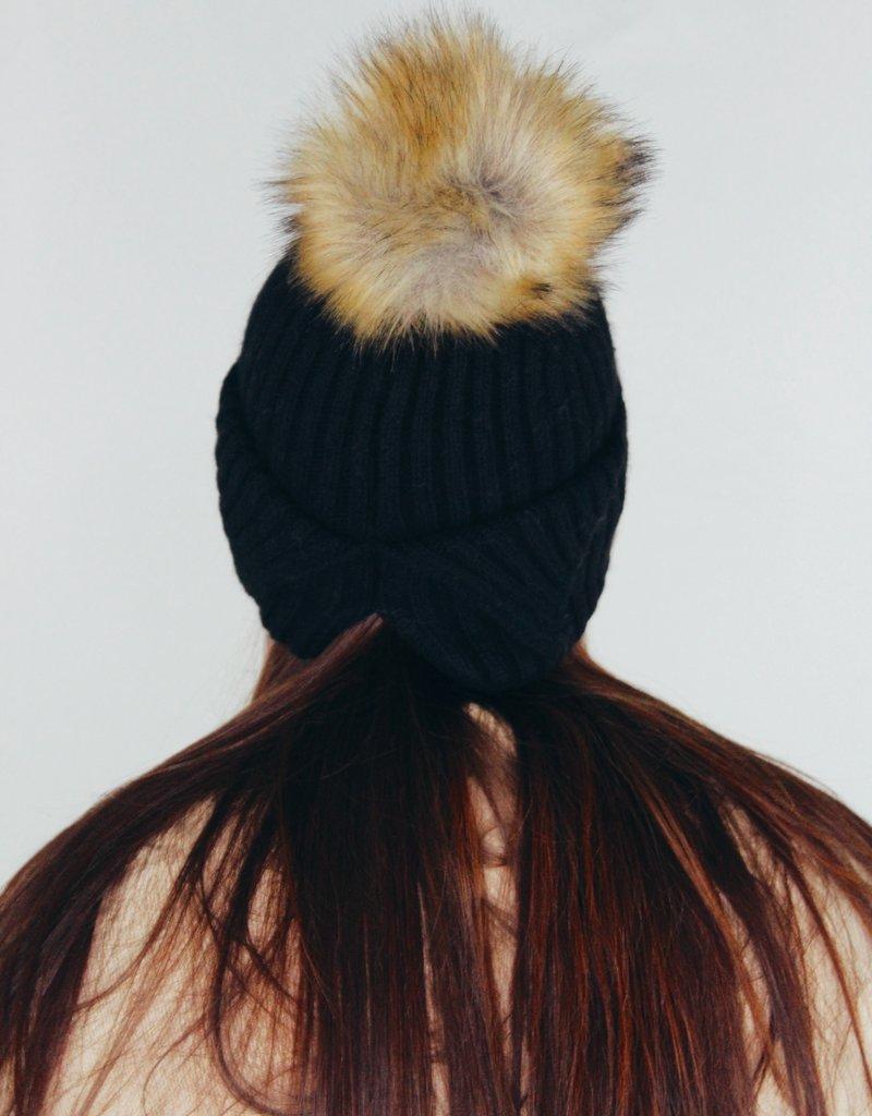Look by M Back Ponytail PomPom Hat