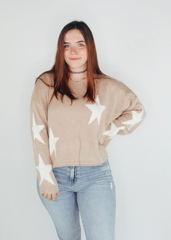 She + Sky Don't Be Shy Star Sweater