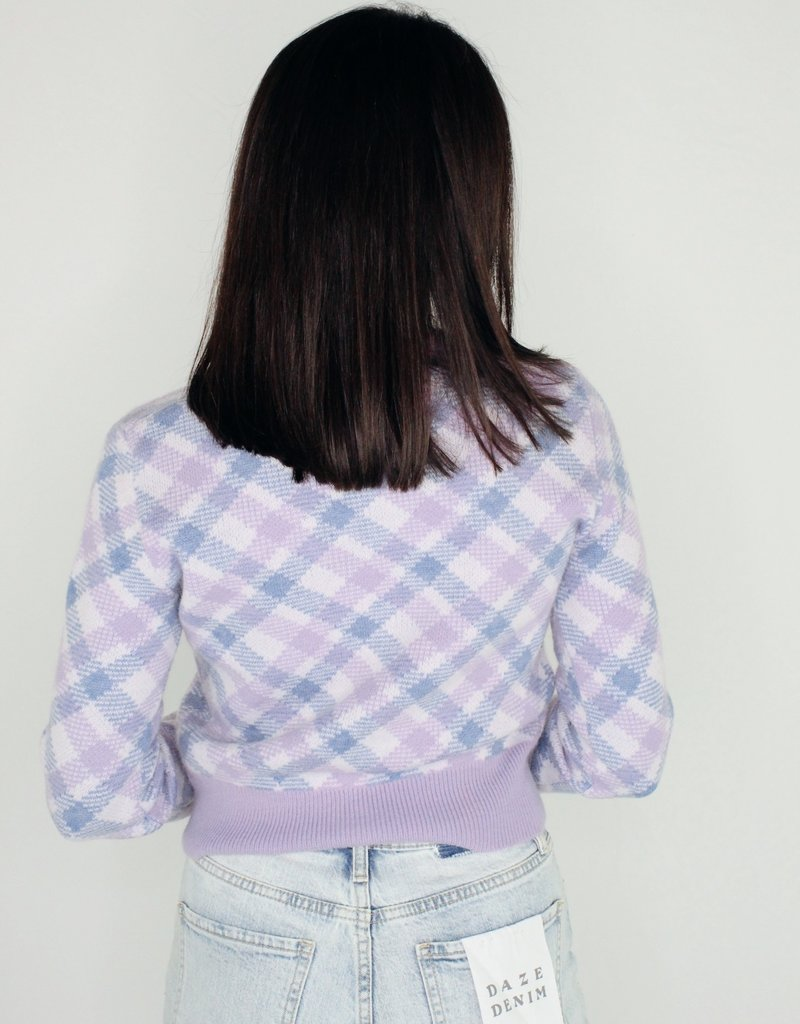 Cotton Candy Peace And Plaid Sweater