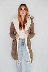 She + Sky Halie Hooded Shearling Fleece Coat