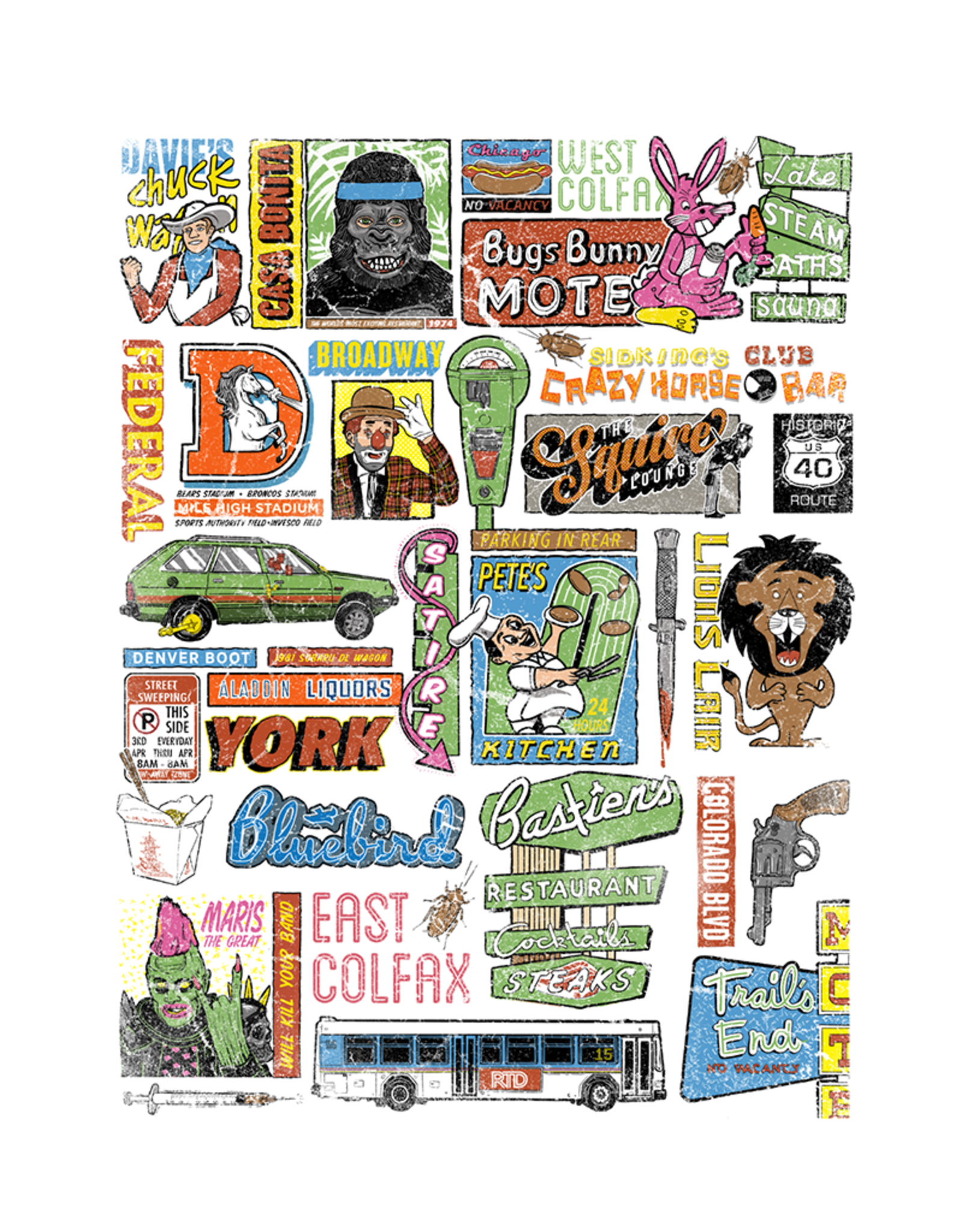 3 Color !! 18 x 24 Just the Fax Colfax Poster by Chris Huth
