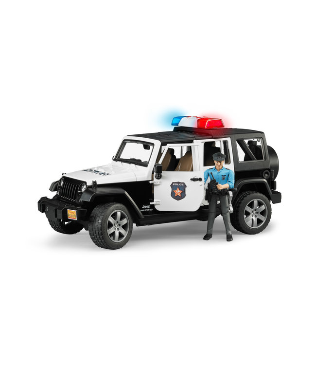 Bruder Jeep Rubicon Police car + light skin Policem
