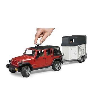 Bruder Jeep Wrangler Unlimited Rubicon w Horse Trailer & horse