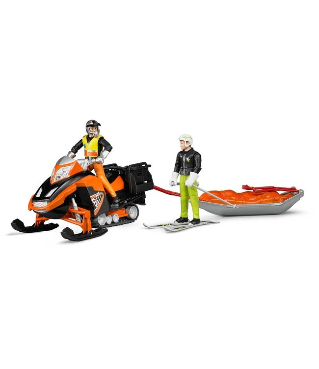 Bruder Snowmobile with driver and rescue sled