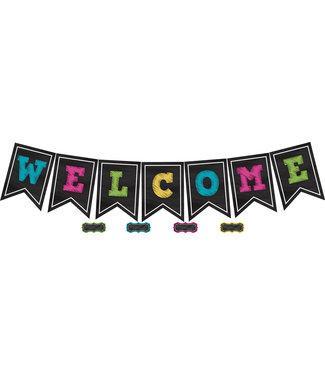 Teacher Created Resources Chalkboard Brights Pennants Welcome Bulletin Board