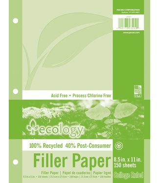 Ecology Recycled Filler Paper White 3-Hole Punched