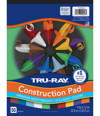 "TRU-RAY Construction Paper Pad, 10 Classic Colors, 9"" x 12"", 50 Sheets"