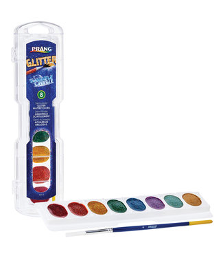 PRANG Oval Pan Watercolors - Washable - Glitter - 8 Color w/ Brush