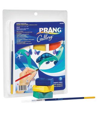 PRANG Tempera Cake Set - 9 Color Set w/ Brush