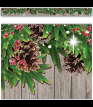 Teacher Created Resources Winter Pine Cones Straight Border Trim