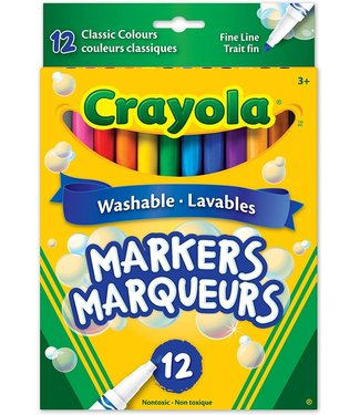 Crayola 12 Washable Fine Line, Classic Colours