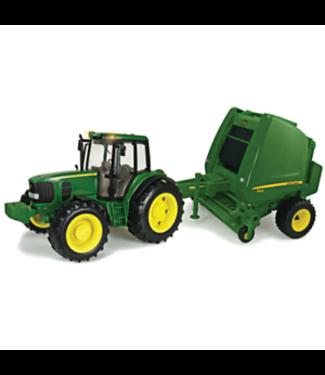 Tomy M4 1:16 Big Farm John Deere Tractor And Baler Set